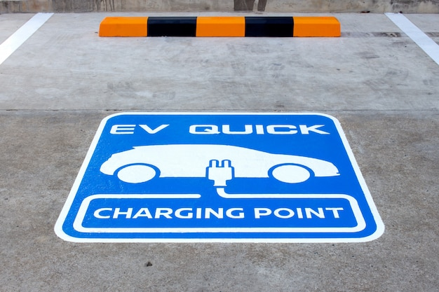 Closeup charging point for electric car