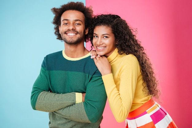 Closeup of cheerful beautiful african american young couple