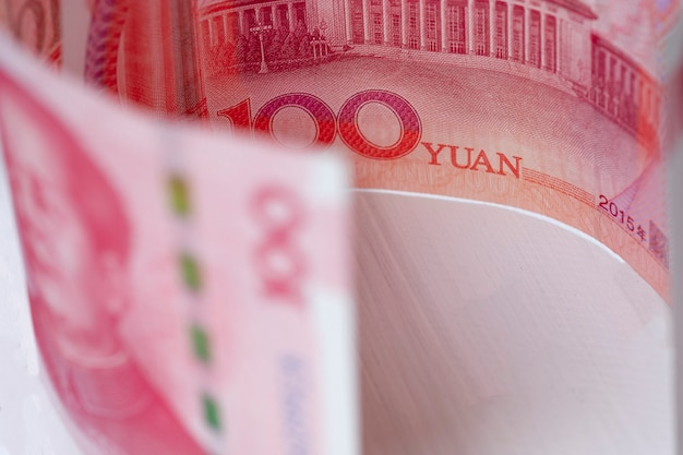 Closeup china yuan banknote. economy and exchange currency concept.