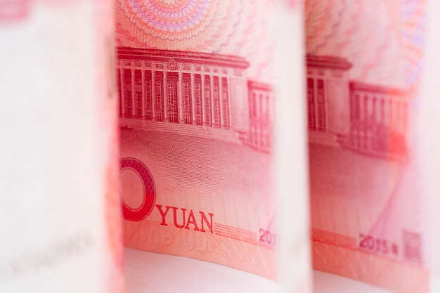 Closeup china yuan banknote. economy and exchange currency concept