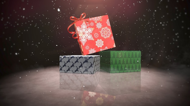 Closeup christmas gift boxes on snow and shine background. luxury and elegant dynamic style 3d illustration for winter holiday