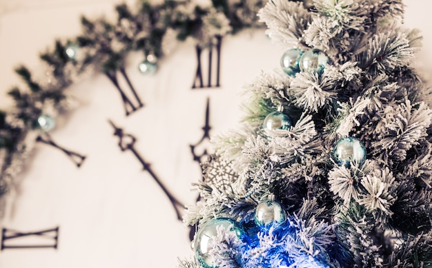 Closeup of christmas tree decorations. xmas tree