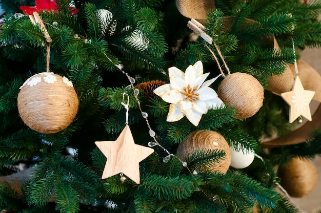 Closeup of christmas-tree decorations.