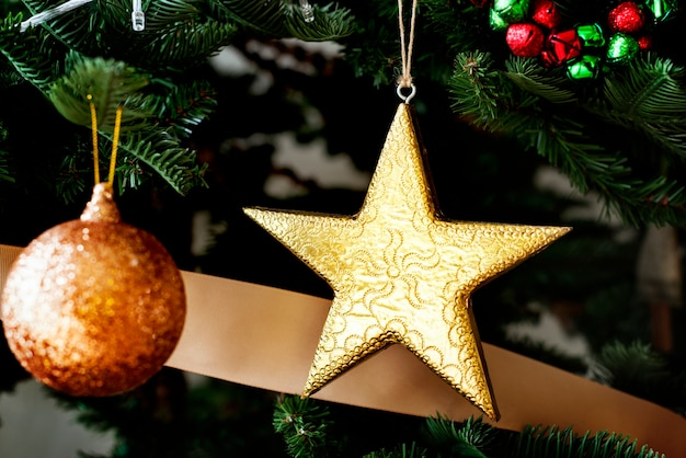 Closeup of christmas tree ornaments