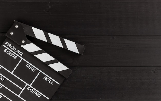 Closeup clapboard on black wood