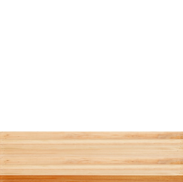 Closeup clear wooden studio background on white background - well use for present products. Free Photo