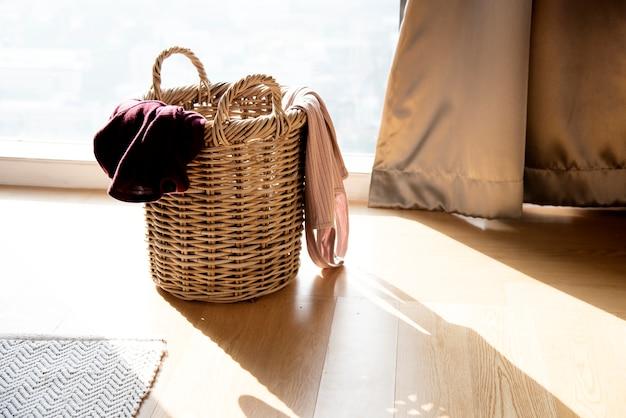 Closeup of clothes wooden basket