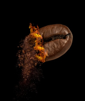 Closeup of coffee bean roasteds