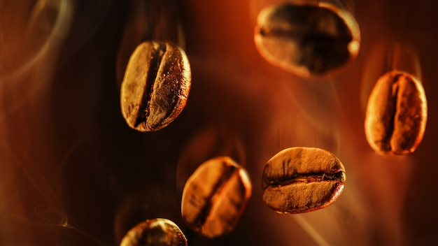Closeup of coffee beans floating in the smoke