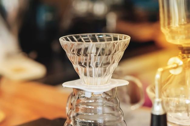 Closeup coffee dripper with drip coffee