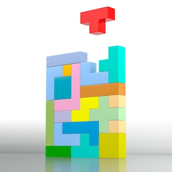 Closeup of a colored puzzle made with blocks of different shape and color. 3d rendering