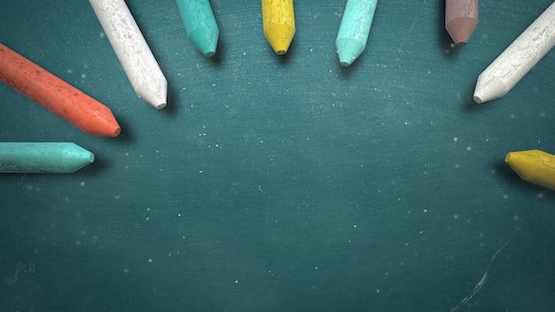 칠판, 학교 배경에 근접 촬영 다채로운 분필입니다. 교육 테마의 우아하고 고급스러운 3d 일러스트