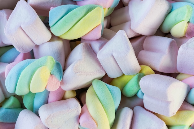Closeup of colorful mini marshmallows background or texture.