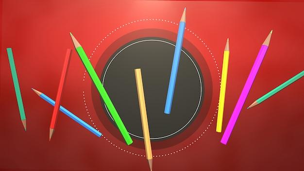 테이블, 학교 배경에 근접 촬영 다채로운 연필입니다. 교육 테마의 우아하고 고급스러운 3d 일러스트