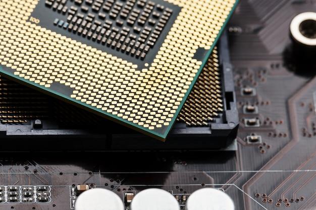 Closeup of cpu chip processor