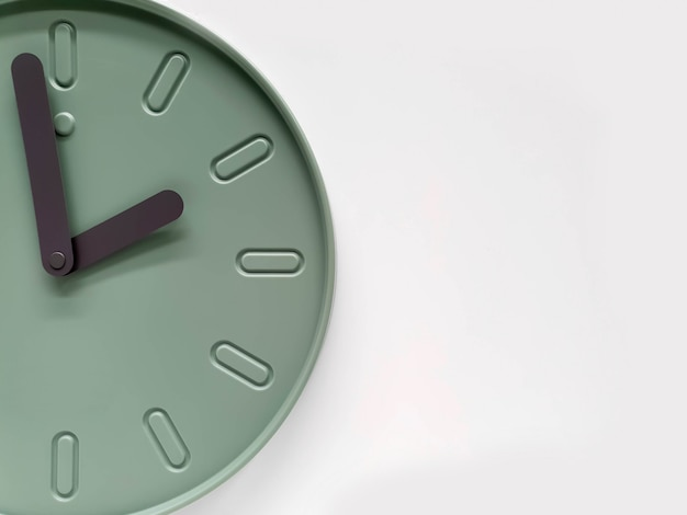 Closeup and crop decorate modern green clock wall isolate on white background with space for texts.