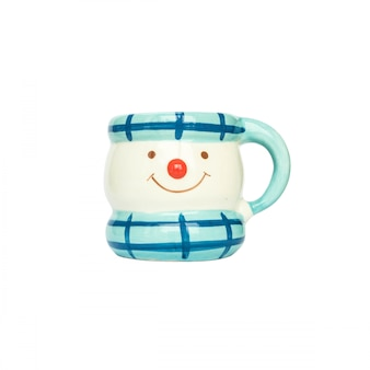 Closeup cute cup isolated on white background with clipping path
