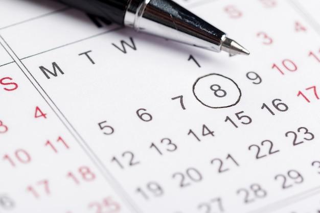 Closeup of dates on calendar page