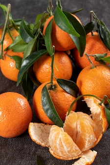 Closeup of delicious tangerines with leaves