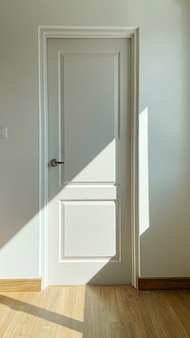 Closeup detail of white door with shadow.