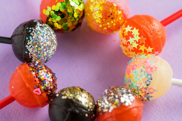 Closeup of different flovoured lollipop