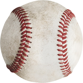 Closeup of dirty baseball isolated on white