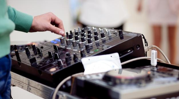 Closeup on dj mixer