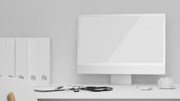 Рабочее место специалиста крупным планом в современном дизайне компьютерного пк с макетом пустого экрана 3d-рендеринга