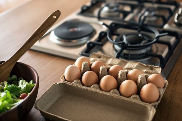 Closeup of eggs in the kitchen