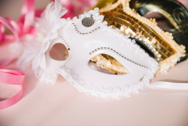 Closeup of elegant festive masks