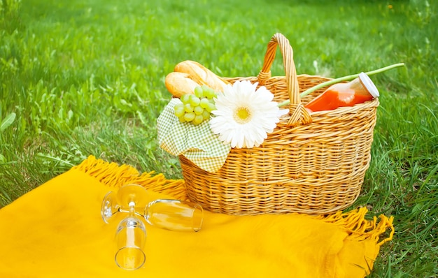 Closeup of empty wine glasses on the cover, picnic basket on the green grass