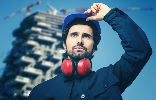 Closeup of an engineer in hardhat