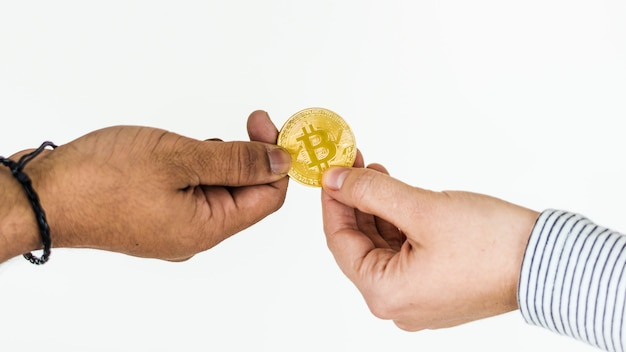 Closeup of exchanging bitcoin isolated on white background