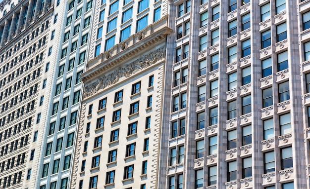 Closeup facade of building in retro style.