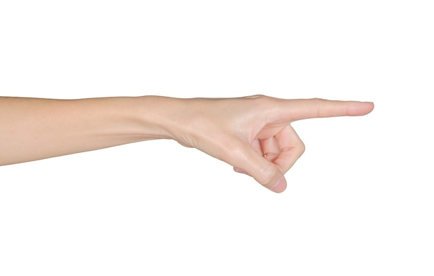 Closeup of female hand pointing isolated on white background
