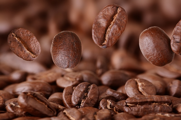 Closeup of flying coffee beans
