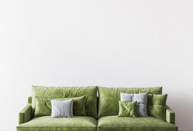 豪華な緑のリビングルームのデザイン、空の壁のクローズアップ
