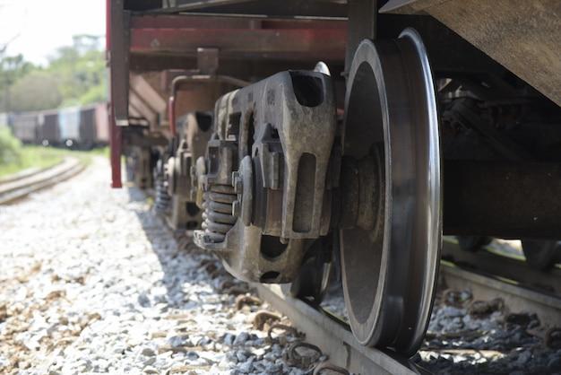 Closeup of freight train wheels