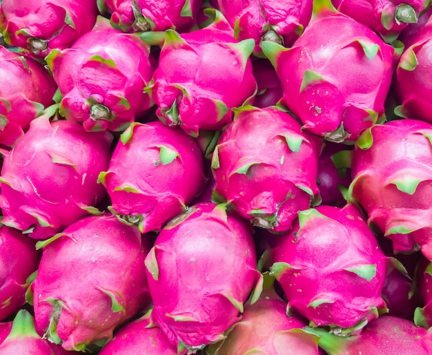Closeup of the fresh dragon fruit from the organic fram.