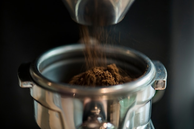Closeup of fresh grinding coffee