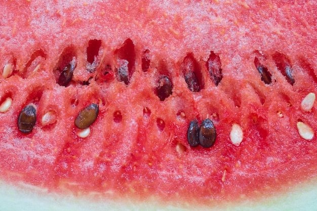 Closeup of a fresh slice of red watermelon textured background.