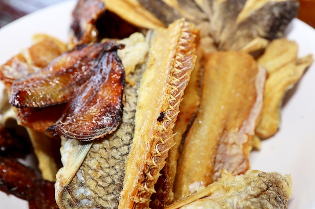 Closeup of fried salted fish in the white plate background. foods concept.