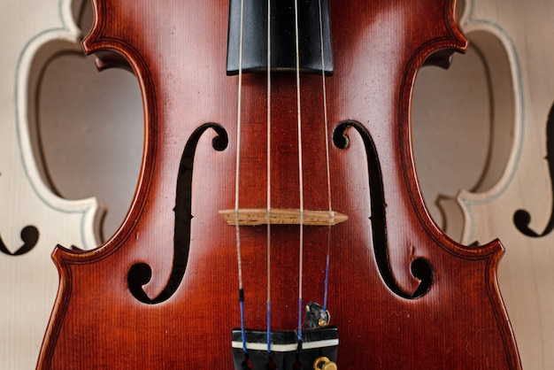 Closeup front side of completed violin, in front of half front side of raw violin