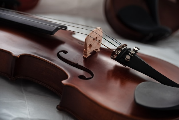 Closeup front side of violin