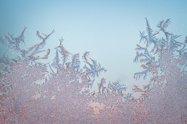 Closeup of a frozen surface during winter