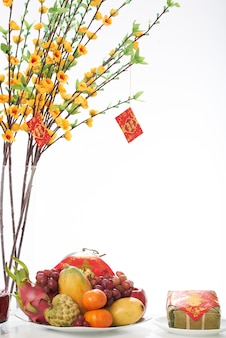 Closeup of fruit dish served for the tet dinner