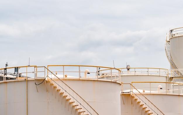 Closeup of fuel storage tanks in petroleum refinery