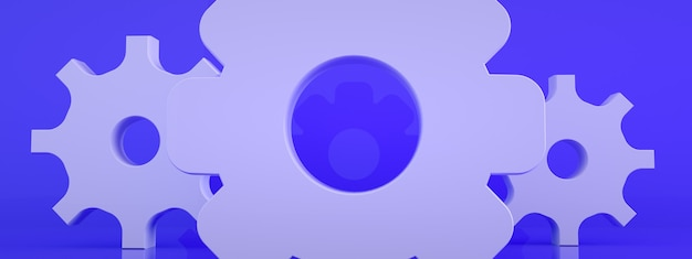 青い背景のクローズアップ歯車アイコン、3dレンダリング、パノラマ画像