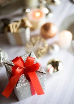 Closeup of gift box christmas celebration on white table