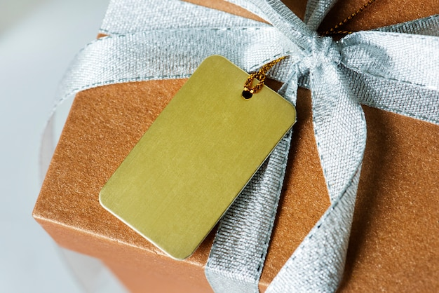 Closeup of gift box wrapped